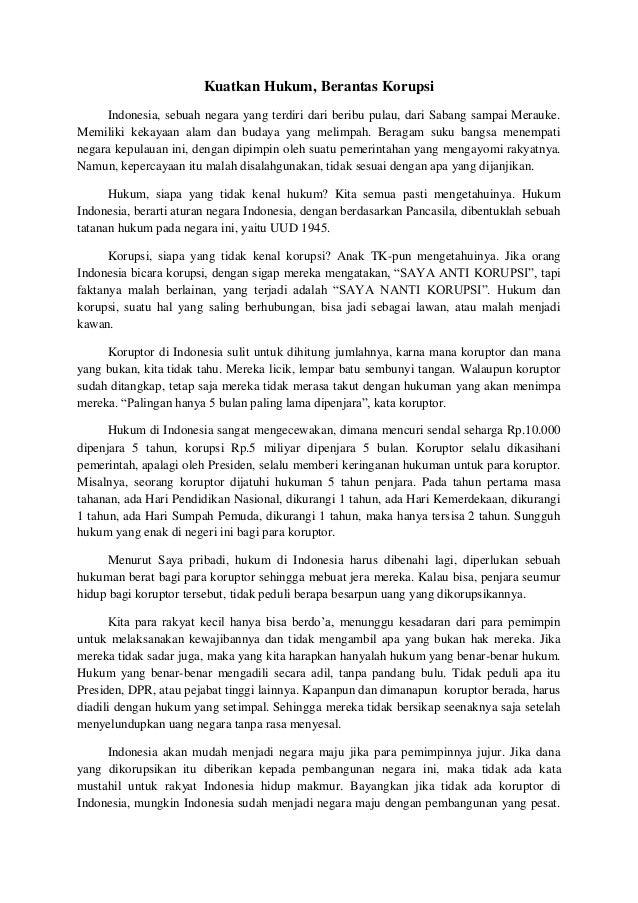 contoh essay tentang pemberantasan korupsi