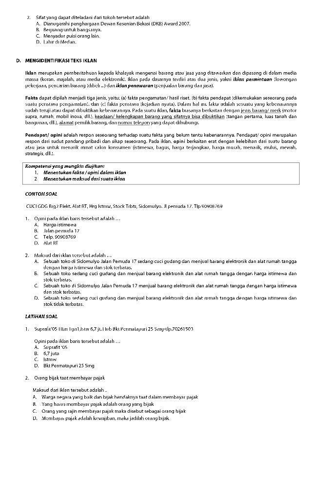 Materi Bahasa Indonesia Un Smp 2015