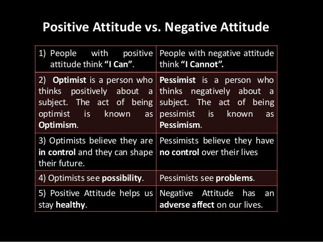 positive and negative attitude pdf