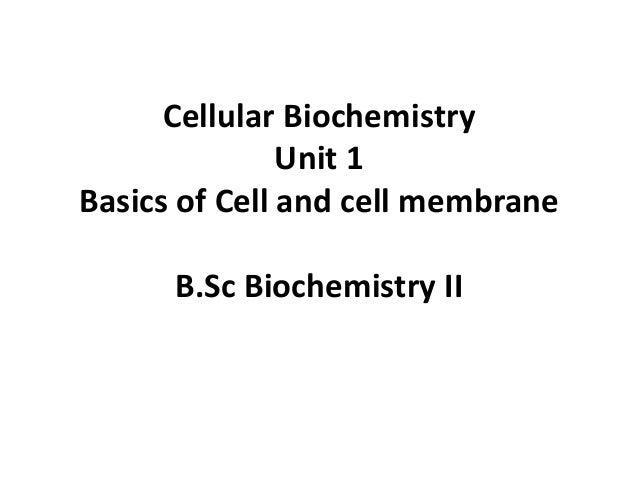 B.Sc. Biochemistry II Cellular Biochemistry Unit 1 Basics