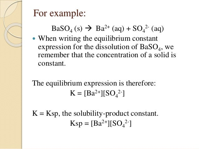 Ksp : Solubility Product