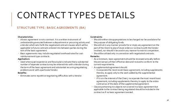 27; 28. CONTRACT TYPES DETAILS STRUCTURE TYPE: BASIC AGREEMENTS ...