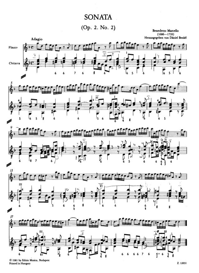 B marcello sonate op 2, #2 for flute and guitar
