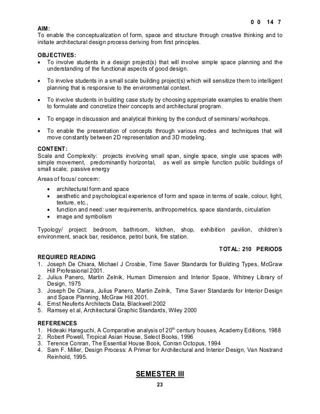 Architecture Design 1 Syllabus interior design syllabus