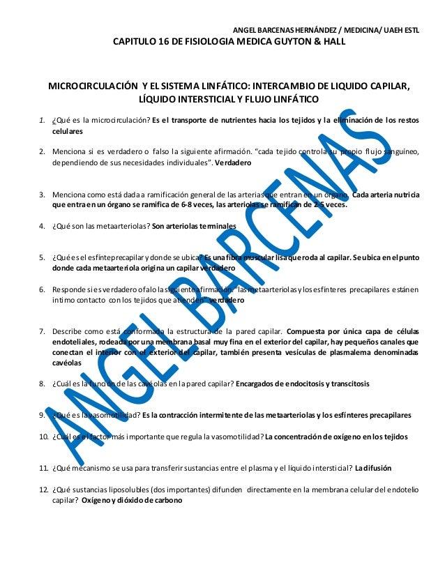 GUIA PARA EXAMEN DEL CAP. 16 DE FISIOLOGIA MÉDICA GUYTON & HALL