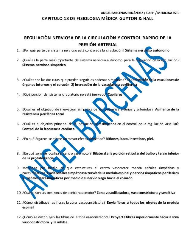 CAP. 18 DE FISIOLOGIA MÉDICA GUYTON & HALL. GUIA DE EXAMEN