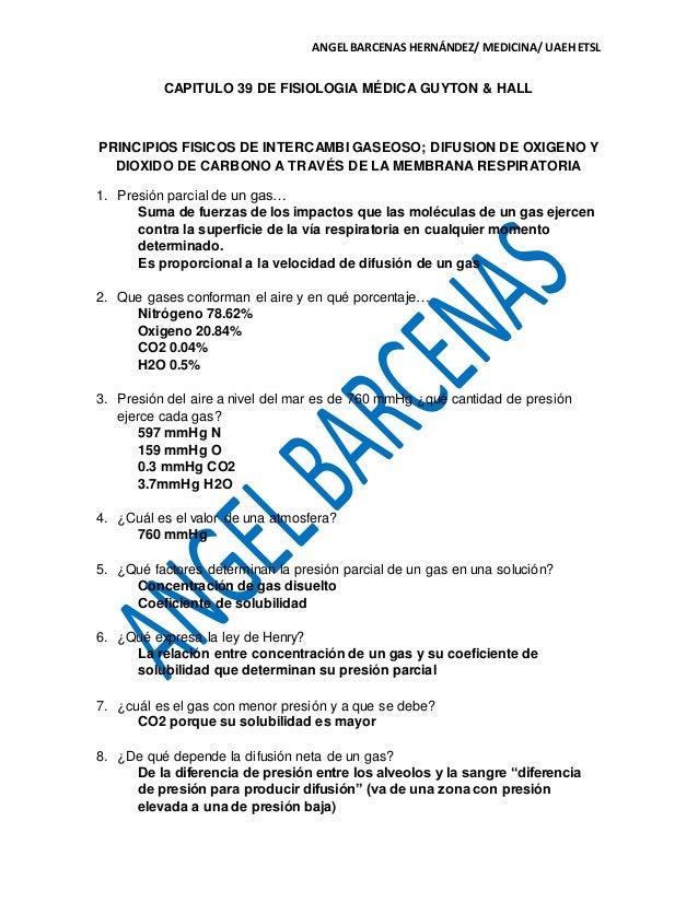 CAP. 39 DE FISIOLOGIA MÉDICA GUYTON & HALL. GUIA DE EXAM
