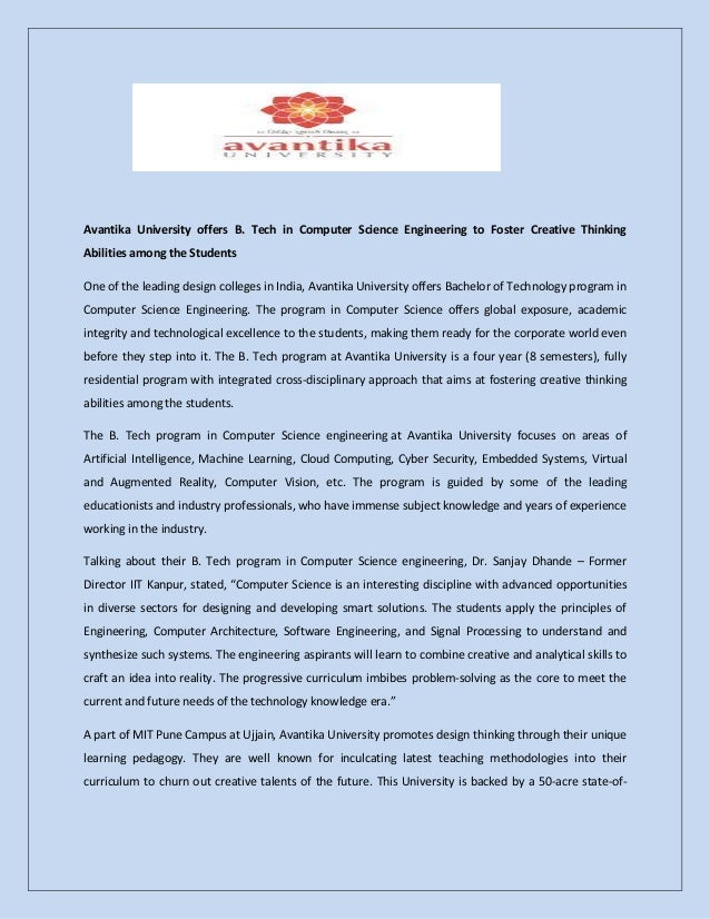 Avantika University offers B. Tech in Computer Science Engineering to Foster Creative Thinking Abilities among the Student...