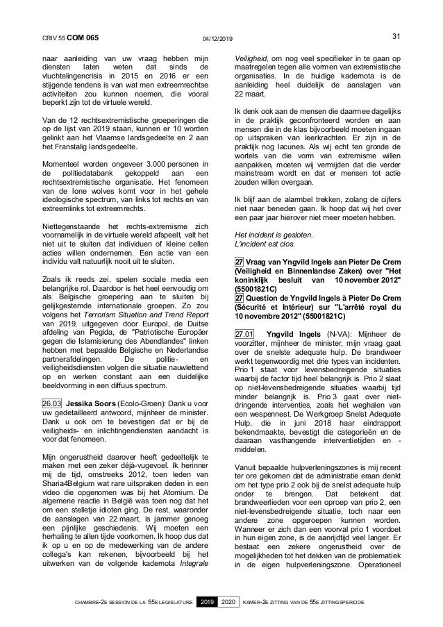 CRIV 55 COM 065 04/12/2019 CHAMBRE-2E SESSION DE LA 55E LEGISLATURE 2019 2020 KAMER-2E ZITTING VAN DE 55E ZITTINGSPERIODE ...