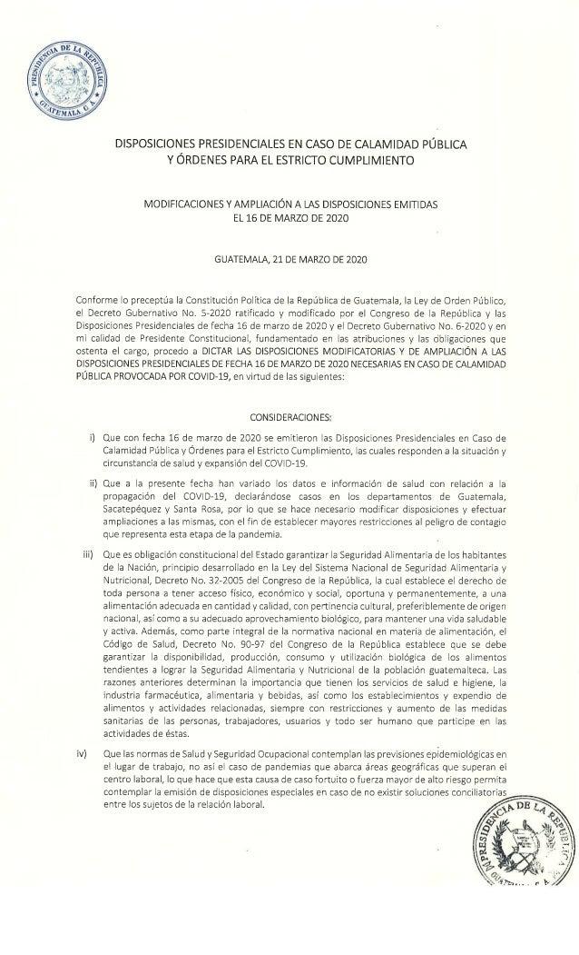 Disposiciones para enfrentar el Coronavirus
