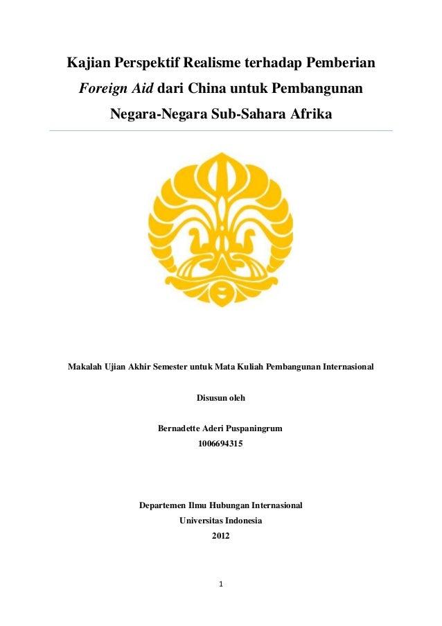 Kajian Perspektif Realisme terhadap Pemberian  Foreign Aid dari China untuk Pembangunan         Negara-Negara Sub-Sahara A...
