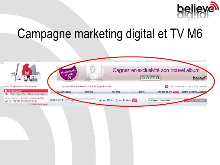 Campagne marketing digital et TV M6
