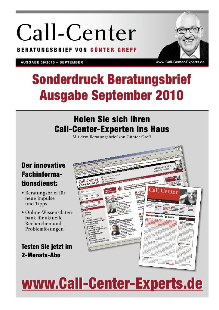 Call-Center B E R AT U N G S B R I E F V O N G Ü N T E R G R E F F   AUSGABE 09/2010 – SEPTEMBER                          ...