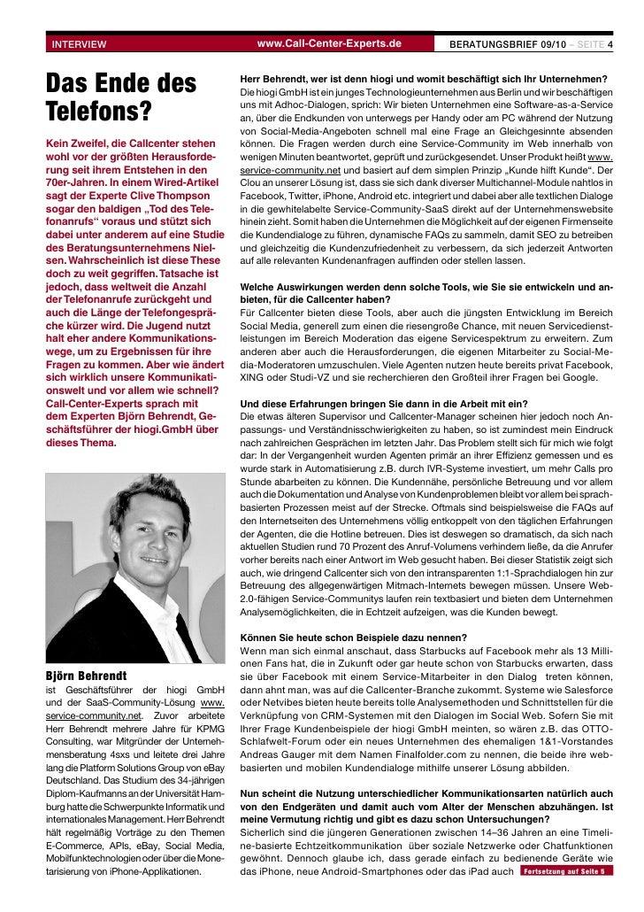 INTERVIEW                                       www.Call-Center-Experts.de                   BERATUNGSBRIEF 09/10 – SEITE ...