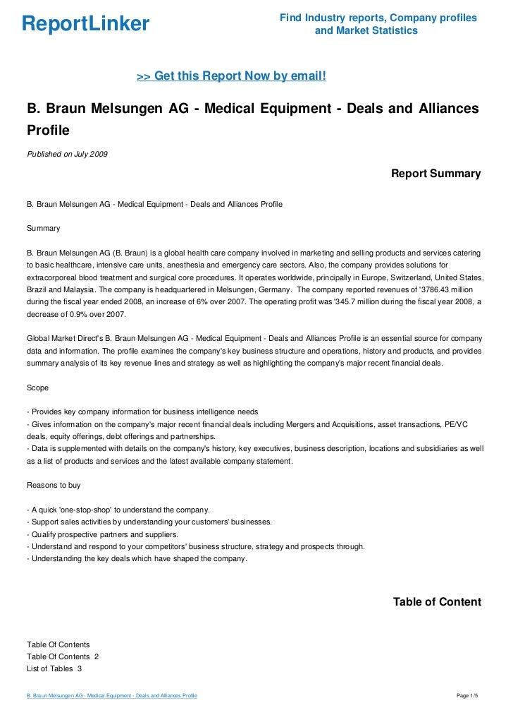 B  Braun Melsungen AG - Medical Equipment - Deals and Alliances Profi…