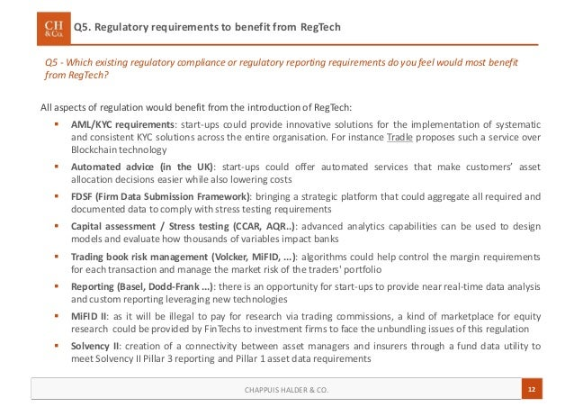 12CHAPPUIS HALDER & CO. Q5 - Which existing regulatory compliance or regulatory reporting requirements do you feel would m...