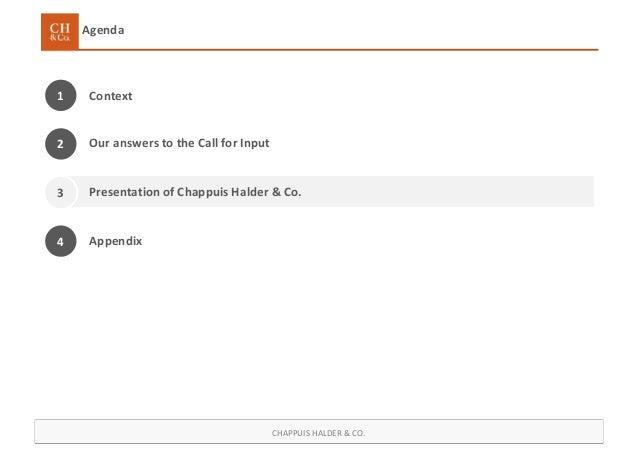 CHAPPUIS HALDER & CO. Agenda Context1 Presentation of Chappuis Halder & Co. 4 Appendix Our answers to the Call for Input2 3