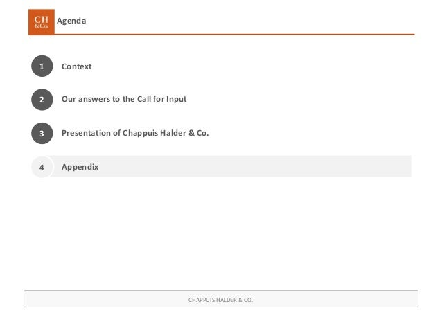 CHAPPUIS HALDER & CO. Agenda Context1 Presentation of Chappuis Halder & Co. Appendix Our answers to the Call for Input2 3 4