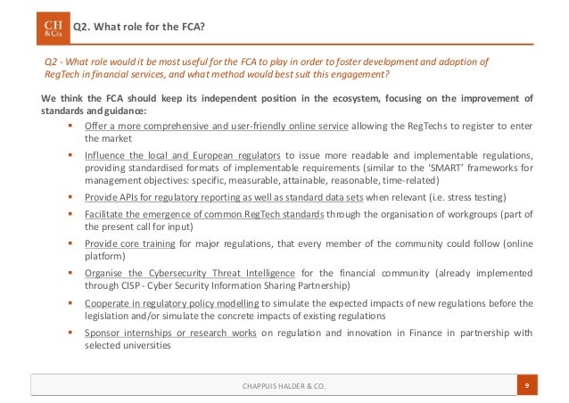 9CHAPPUIS HALDER & CO. We think the FCA should keep its independent position in the ecosystem, focusing on the improvement...