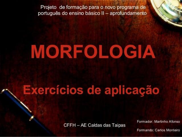 Projeto de formação para o novo programa de  português do ensino básico II – aprofundamento MORFOLOGIAExercícios de aplica...