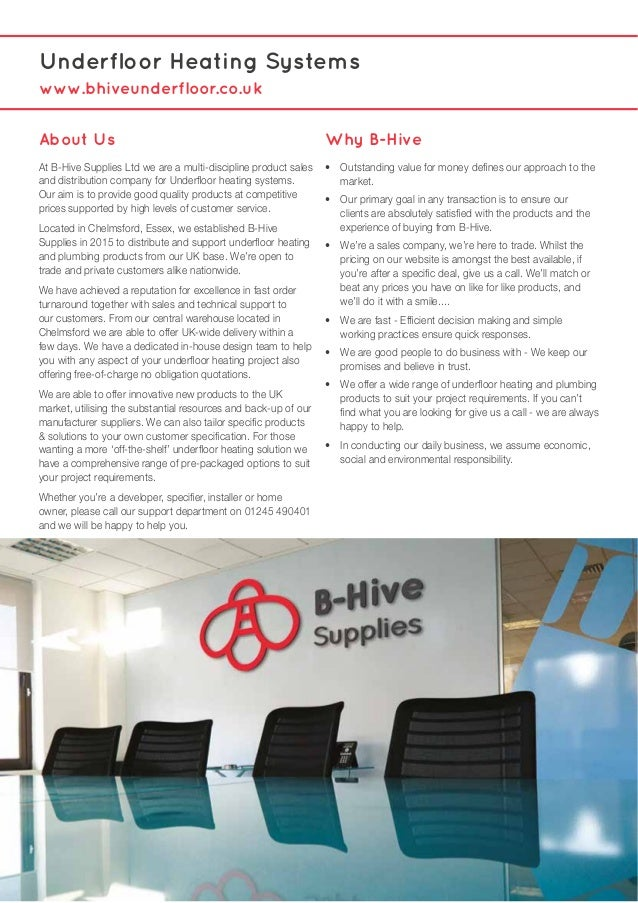 B-Hive Underfloor Heating Sales Brochure July 2016