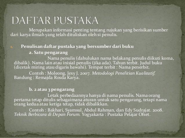 B Indonesia Kd 4 3 Karya Tulis Dengan Daftar Pustaka Catatan Kaki