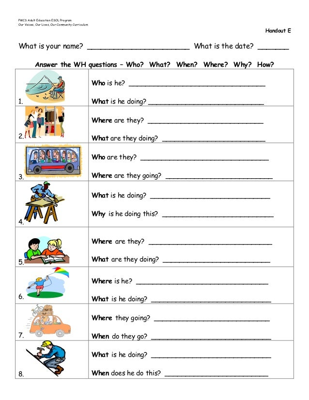 Who What Where When Worksheets : B introduction to wh questions handouts a n