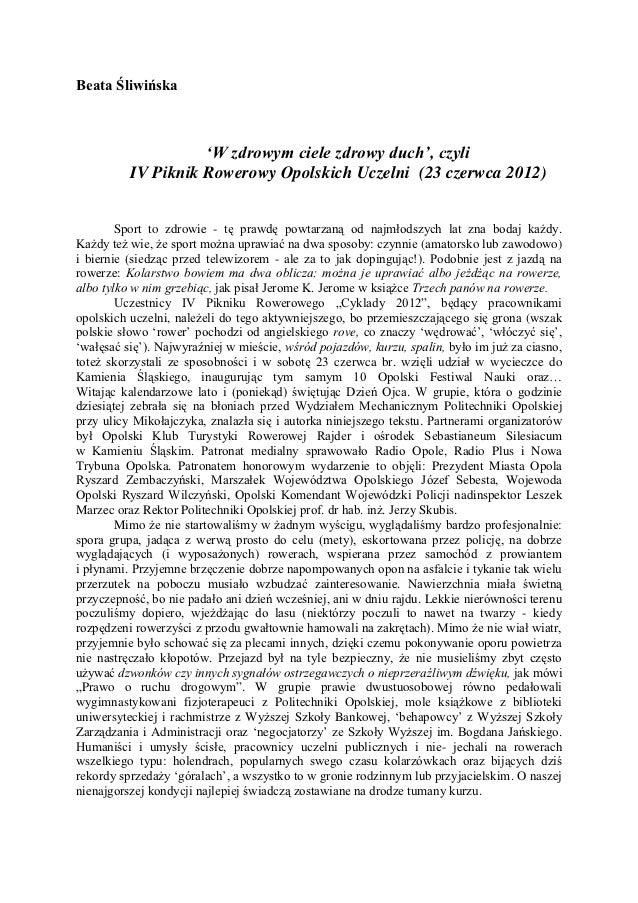 Beata Śliwińska                    'W zdrowym ciele zdrowy duch', czyli          IV Piknik Rowerowy Opolskich Uczelni (23 ...