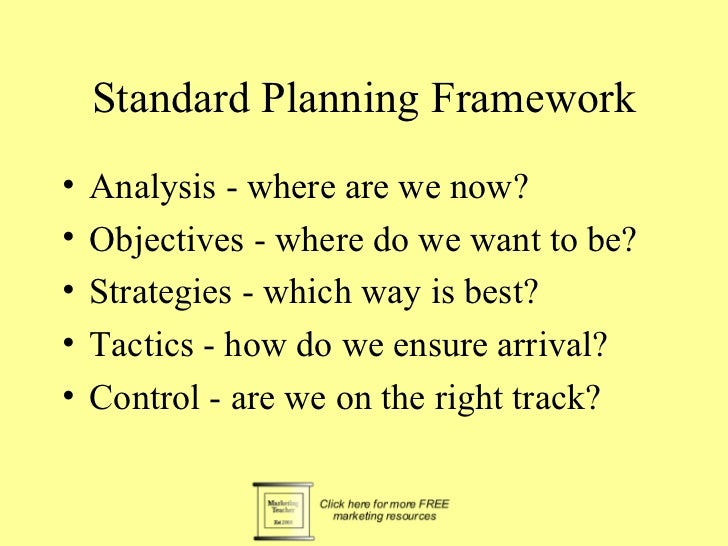 Standard Planning Framework•   Analysis - where are we now?•   Objectives - where do we want to be?•   Strategies - which ...
