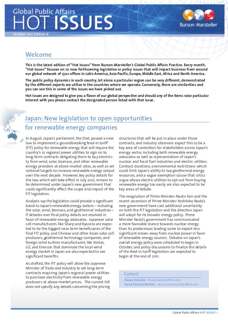 """October 2011 Edition 6       Welcome       This is the latest edition of """"Hot Issues"""" from Burson-Marsteller's Global Publ..."""