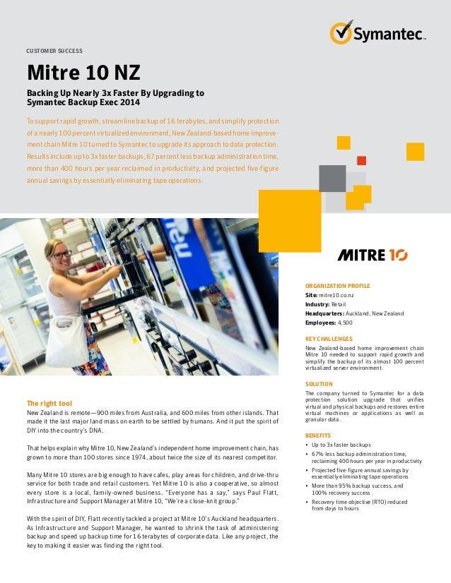 Backup Exec 2014 Customer Success Story  - Mitre 10