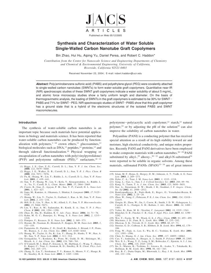 Published on Web 05/12/2005                                        Synthesis and Characterization of Water Soluble        ...