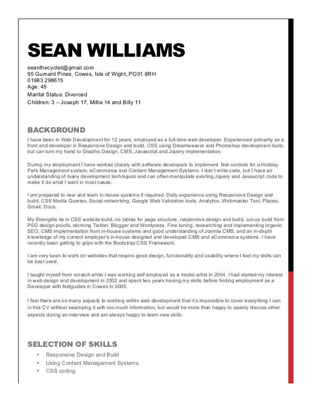 Sean Williams Resume