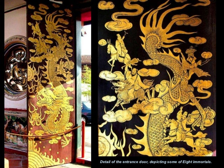 Detail of the entrance door, depicting some of Eight immortals.