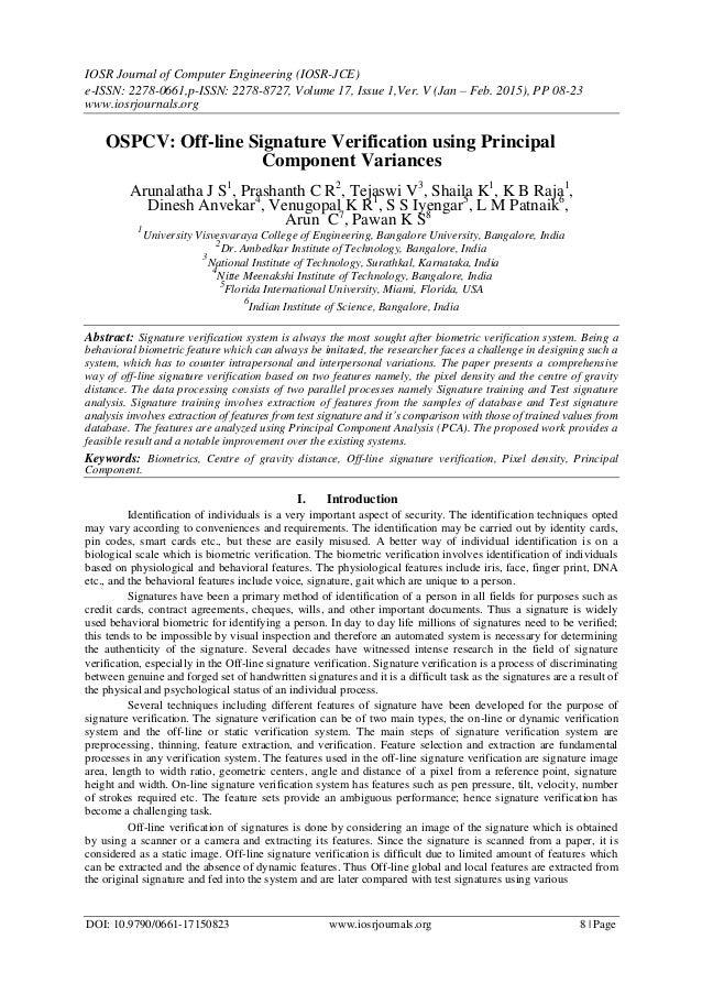 OSPCV: Off-line Signature Verification using Principal Component Vari…