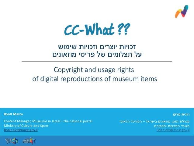 שימוש וזכויות יוצרים זכויות מוזאונים פריטי של תצלומים על מרקו רונית תוכן מנהלת,בישראל מוזאוני...