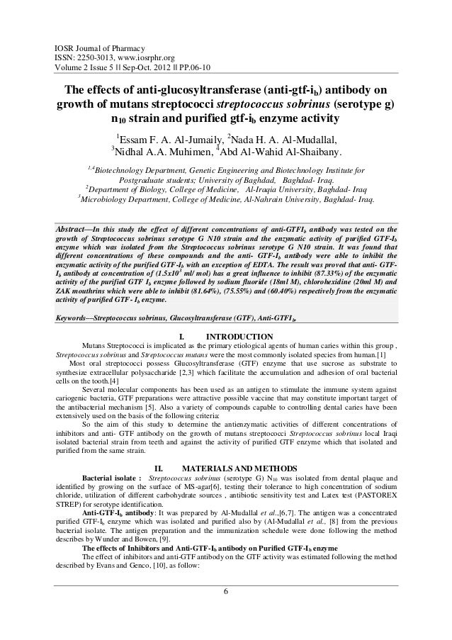 IOSR Journal of PharmacyISSN: 2250-3013, www.iosrphr.orgVolume 2 Issue 5 ‖‖ Sep-Oct. 2012 ‖‖ PP.06-10 The effects of anti-...