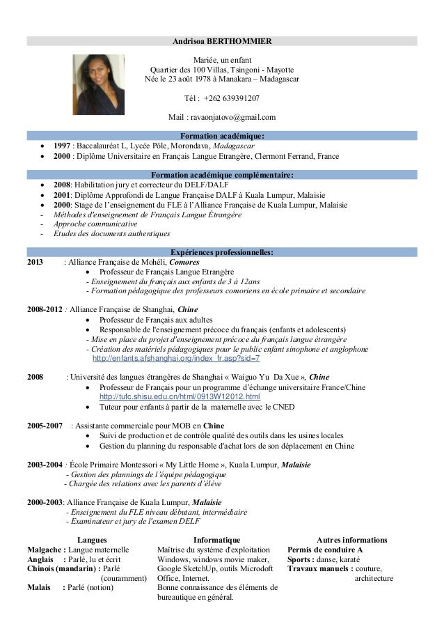 professeur de fle cv en francaispdf