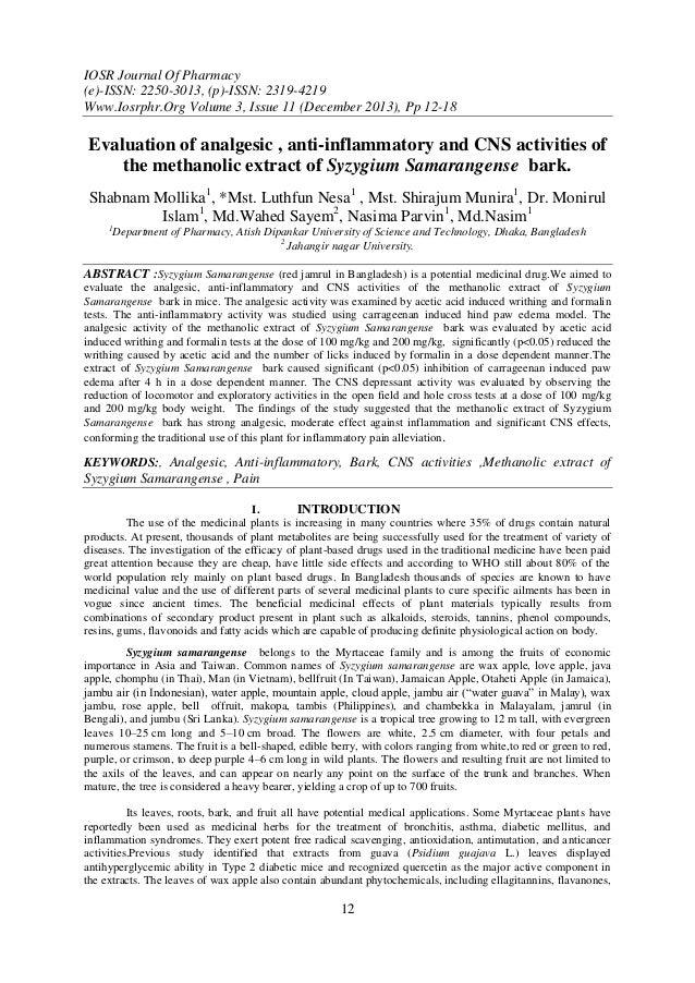 IOSR Journal Of Pharmacy (e)-ISSN: 2250-3013, (p)-ISSN: 2319-4219 Www.Iosrphr.Org Volume 3, Issue 11 (December 2013), Pp 1...