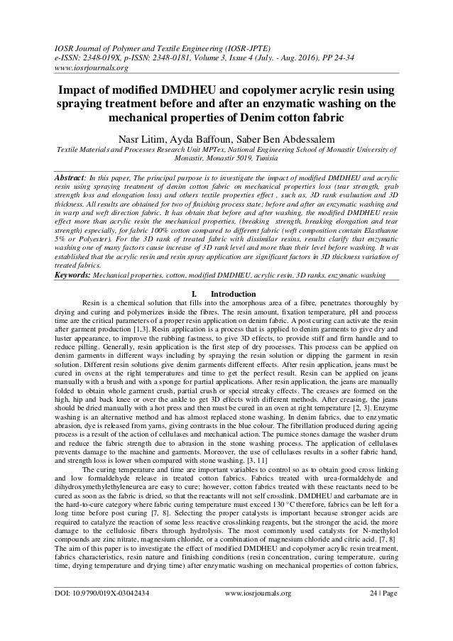 IOSR Journal of Polymer and Textile Engineering (IOSR-JPTE) e-ISSN: 2348-019X, p-ISSN: 2348-0181, Volume 3, Issue 4 (July....