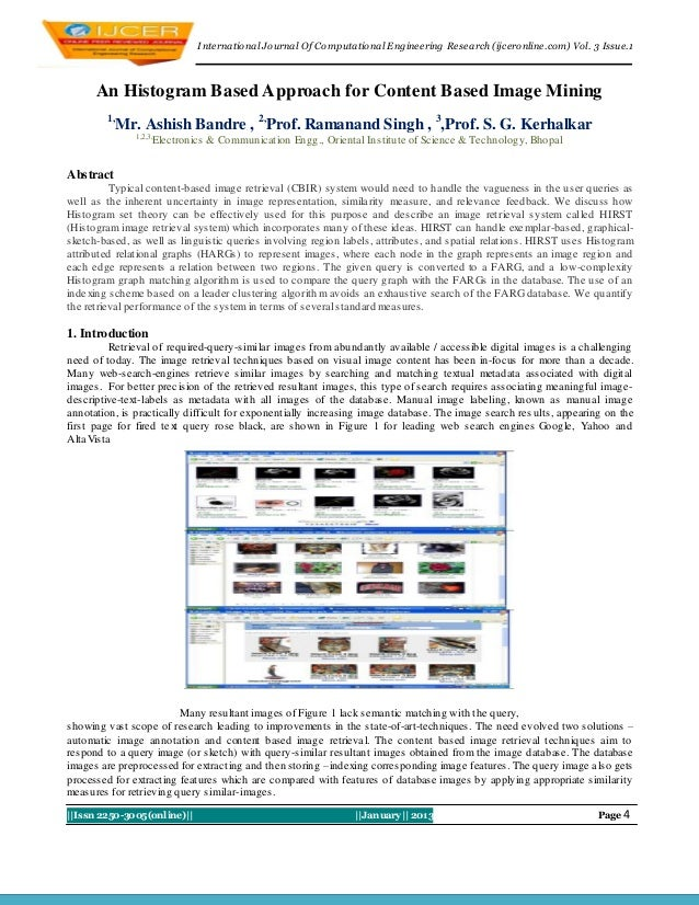 I nternational Journal Of Computational Engineering Research (ijceronline.com) Vol. 3 Issue.1      An Histogram Based Appr...