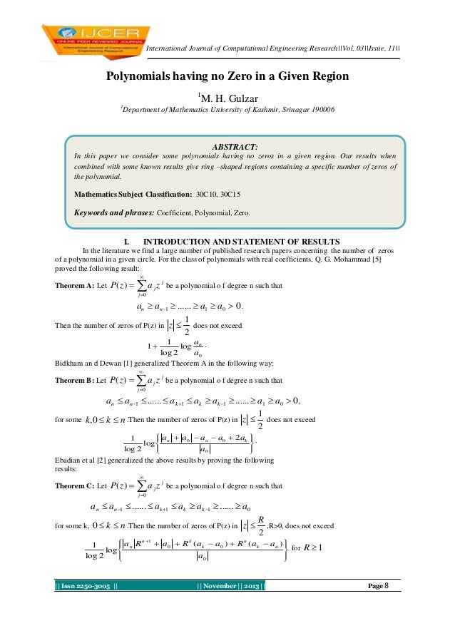 International Journal of Computational Engineering Research||Vol, 03||Issue, 11||  Polynomials having no Zero in a Given R...