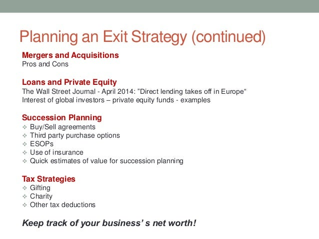 exit strategy business plan investors