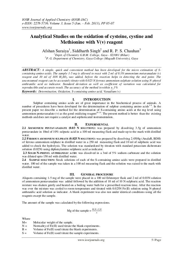 IOSR Journal of Applied Chemistry (IOSR-JAC)e-ISSN: 2278-5736. Volume 3, Issue 5 (Jan. – Feb. 2013), PP 05-07www.iosrjourn...