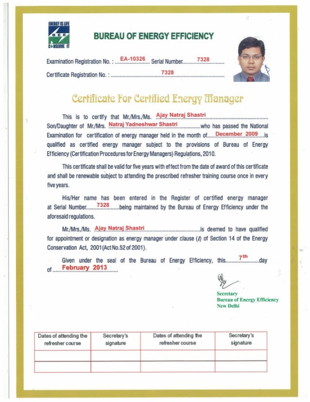 Energy Manager Certificate