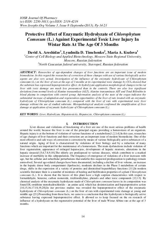 IOSR Journal Of Pharmacy (e)-ISSN: 2250-3013, (p)-ISSN: 2319-4219 Www.Iosrphr.Org Volume 3, Issue 8 (September2013), Pp 14...