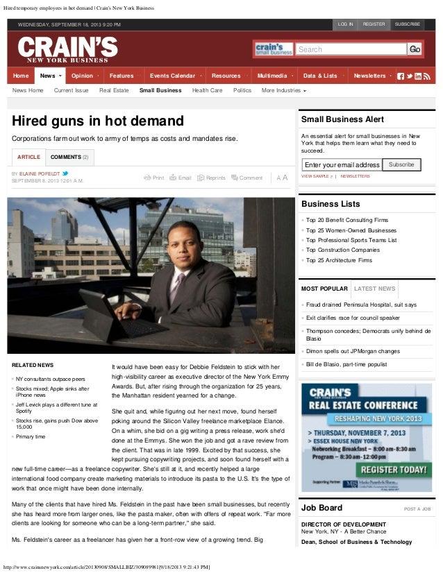 Hired temporary employees in hot demand | Crain's New York Business http://www.crainsnewyork.com/article/20130908/SMALLBIZ...
