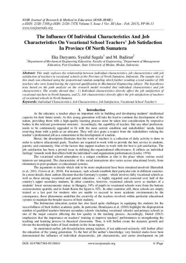 Research articles on job satisfaction of teachers