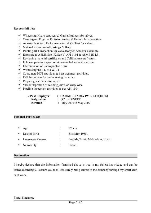 5 responsibilities witnessing hydro test - Hydro Test Engineer Sample Resume