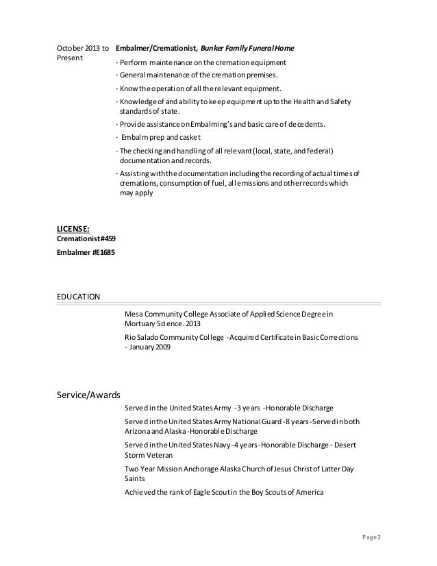 2 - Resume For Mortuary Science